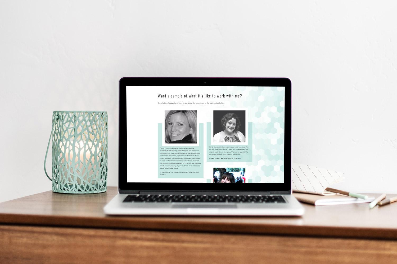 Mandy Ellis freelance writer #squarespace website | testimonial display | webdesign by Jodi Neufeld Design