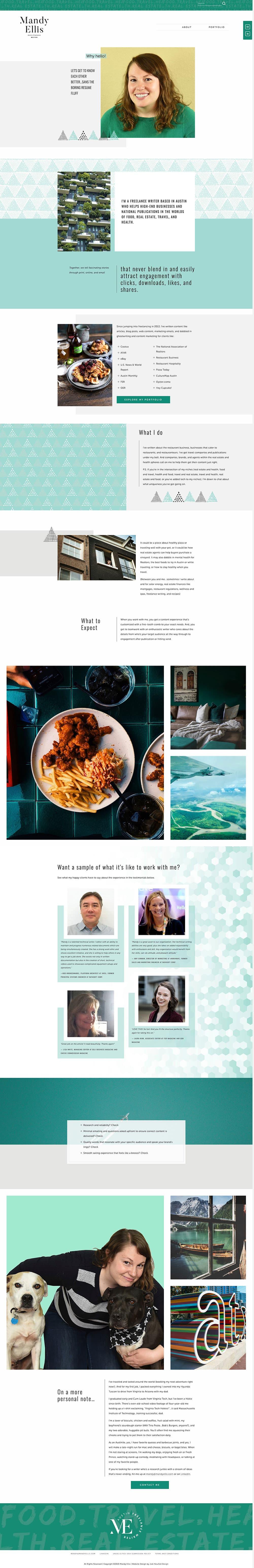 Mandy Ellis freelance writer About page | web design by Jodi Neufeld Design