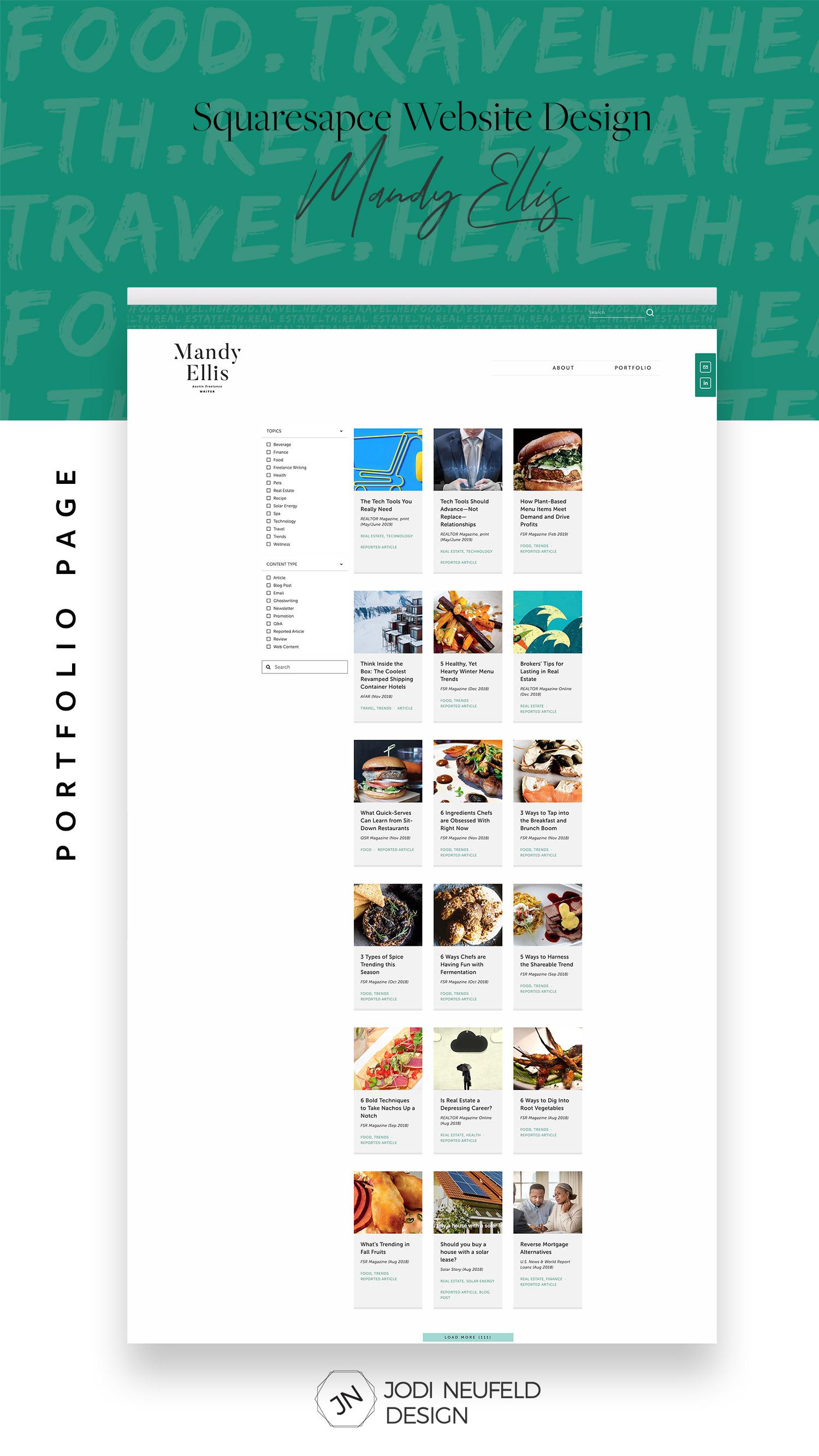 Freelance writer portfolio page | #squarespace #webdesign by Jodi Neufeld Design
