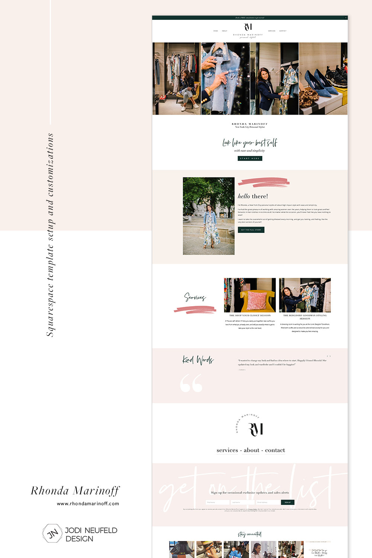 Rhonda Marinoff Home page | Squarespace website template setup and customizations by Jodi Neufeld Design #squarespace #webdesign #redesign