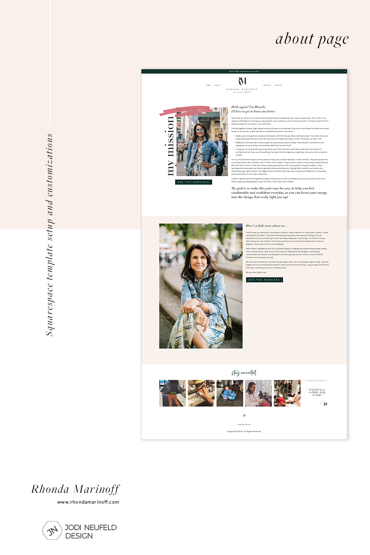 Rhonda Marinoff about page | template setup and customization by Jodi Neufeld Design #squarespace #webdesign #redesign