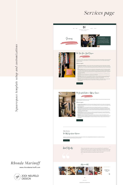 Rhonda Marinoff | golive template setup Squarespace customizations by Jodi Neufeld Design #squarespace #webdesign #template