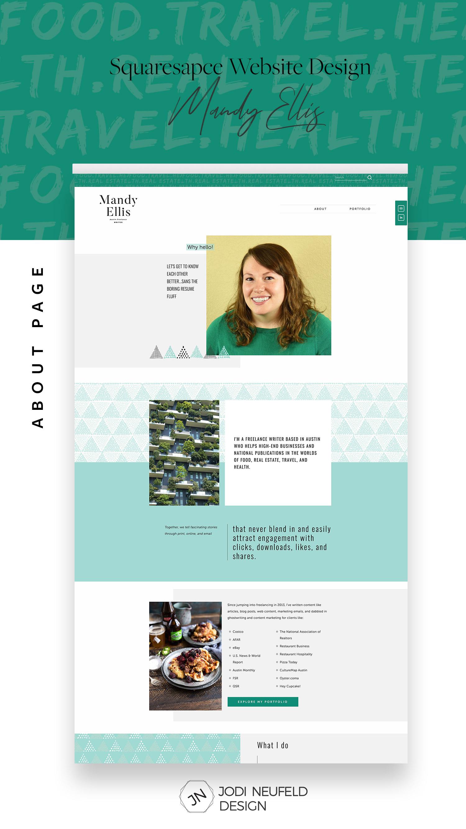 Mandy Ellis About page | #writerwebsite | #squarespace #webdesign by Jodi Neufeld Design