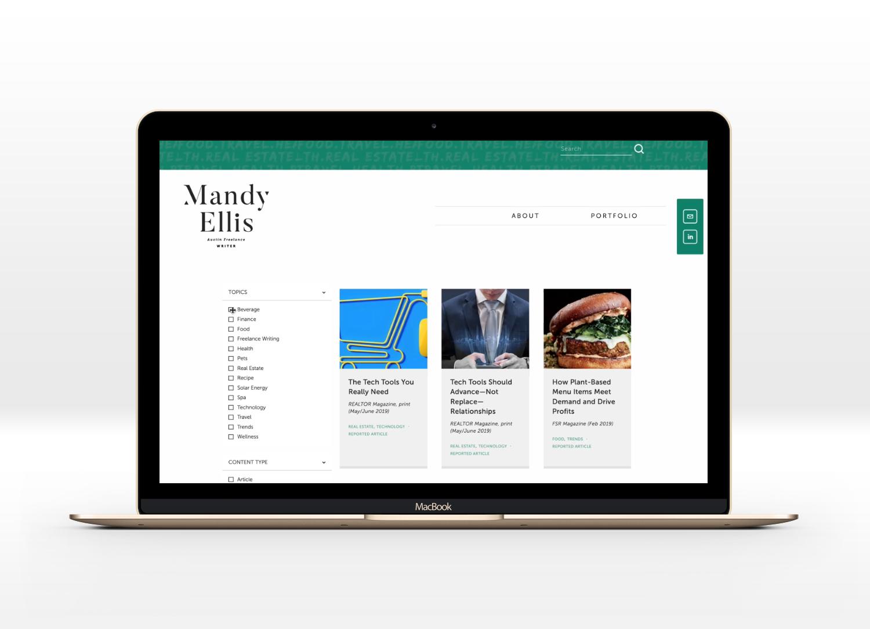 Universal Filter on a freelance writer website | web design by Jodi Neufeld Design