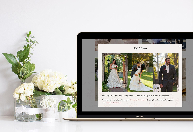 Lightbox anything on a portfolio for a wedding event planner | web design by Jodi Neufeld Design
