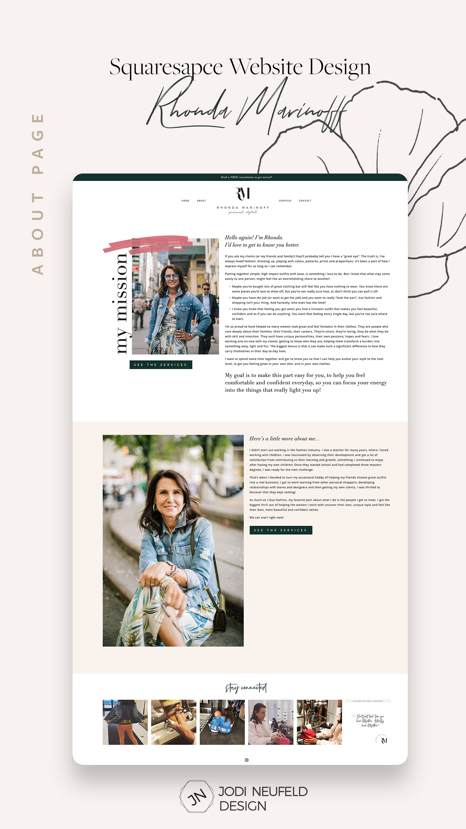 About page | Squarespace template install and customization for a personal stylist | by Jodi Neufeld Design