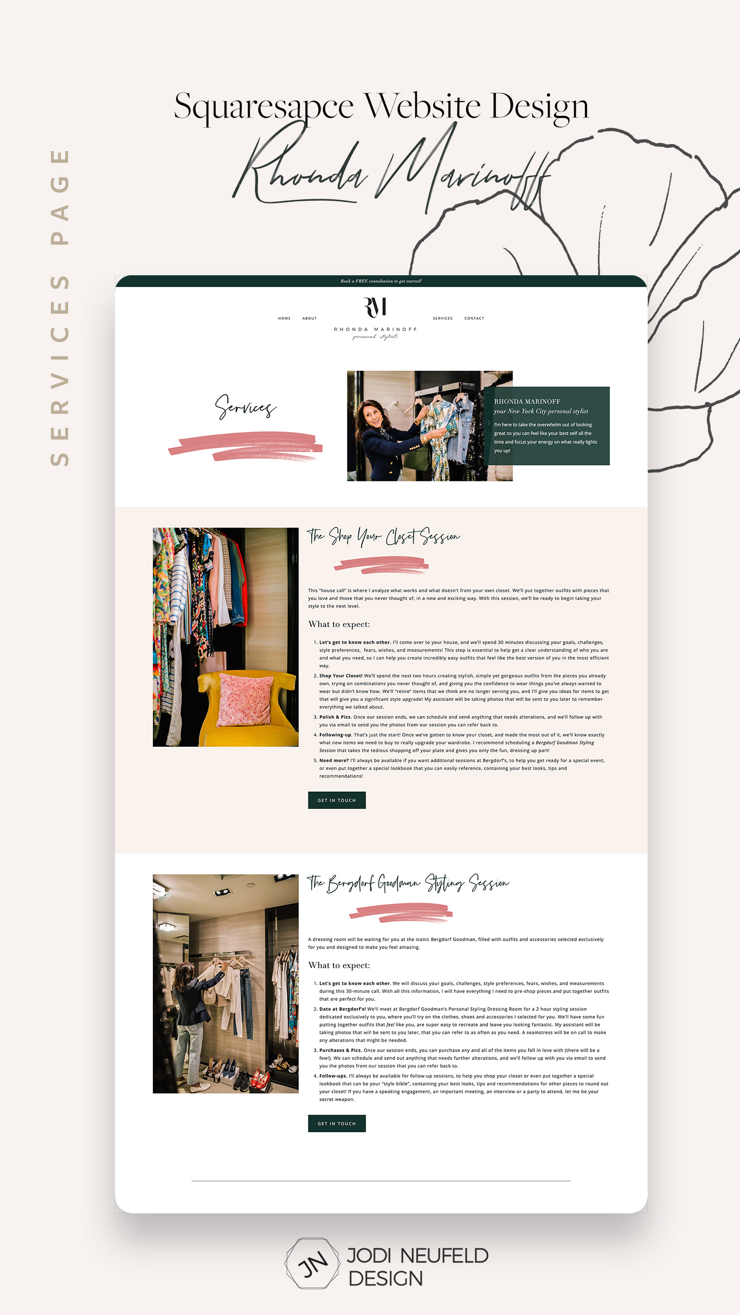 Services page | Squarespace template install and customization for a personal stylist | by Jodi Neufeld Design