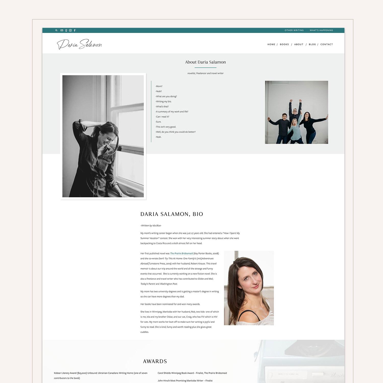 Daria Salamon About page #squarespace web design by Jodi Neufeld Design