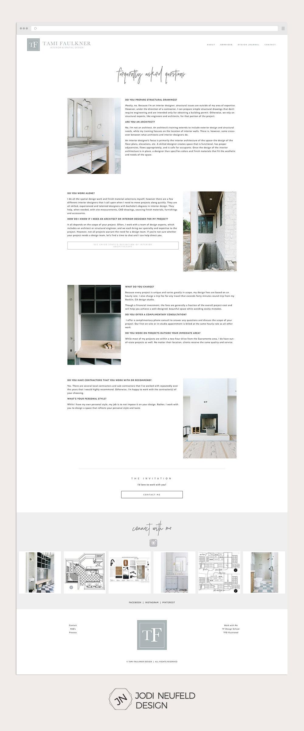FAQ page for an interior design website by Jodi Neufeld Design #squarespace #webdesign