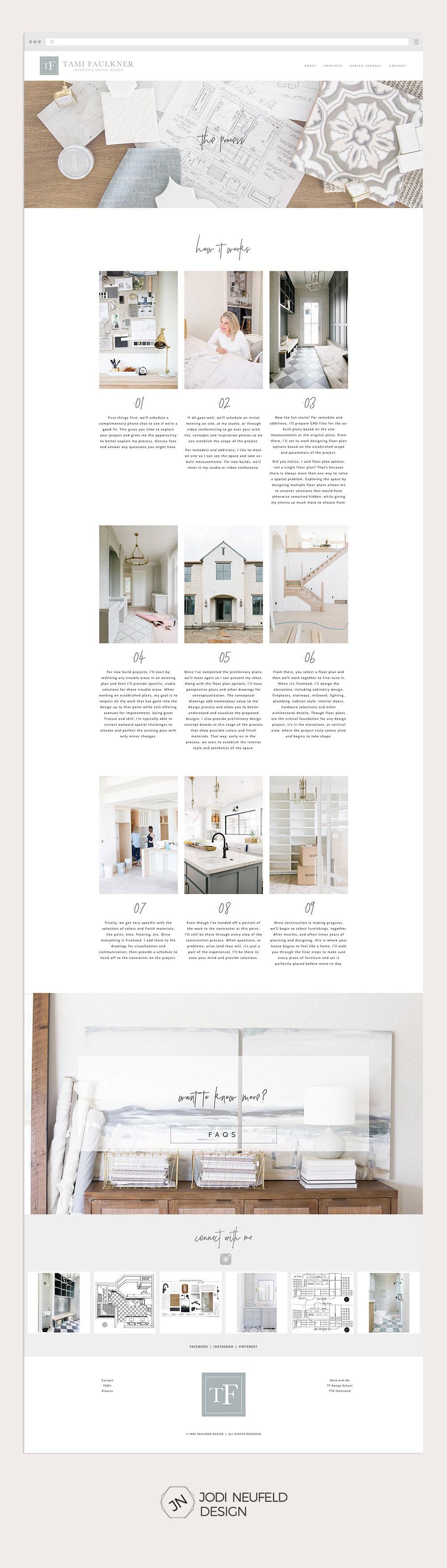 Process page for Tami Faulkner interior designer by Jodi Neufeld Design | Squarespace web designer