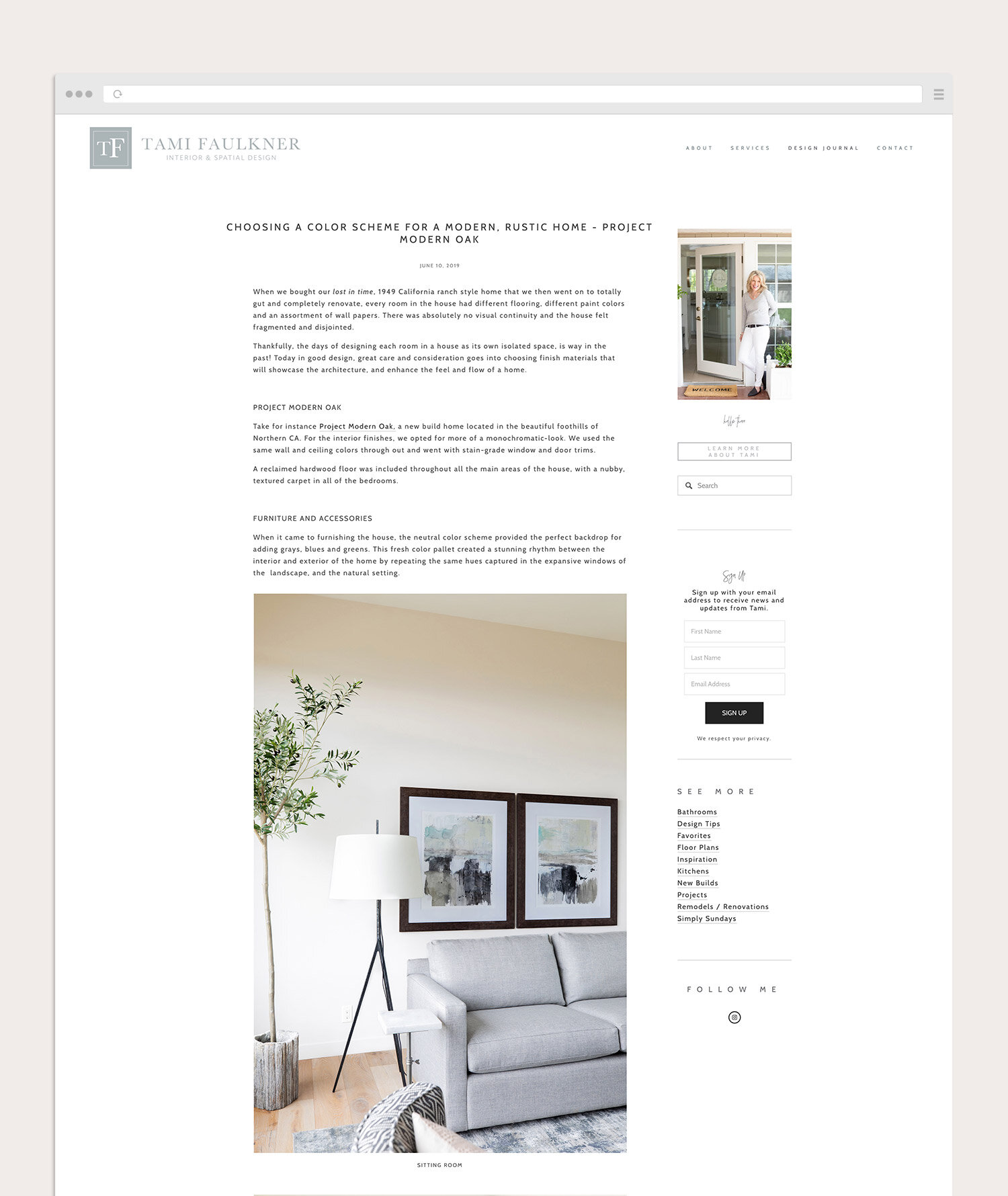 Blog page for an interior designer | website design by Jodi Neufeld Design