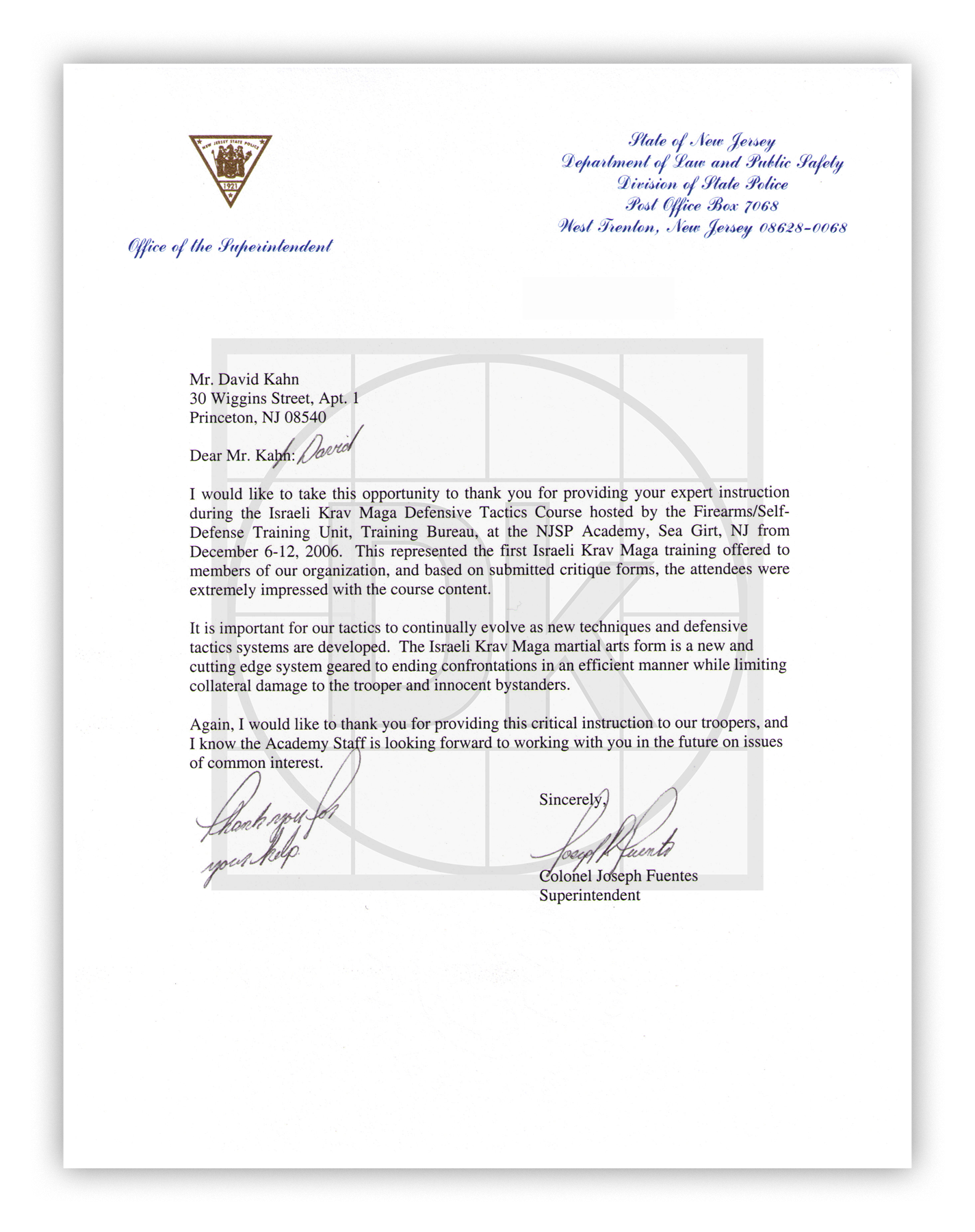 New Jersey Department of Law and Safety Division of Police