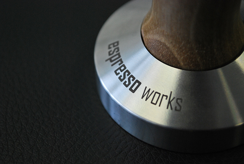 Laser Etched detail to stainless steel Barista Accessory