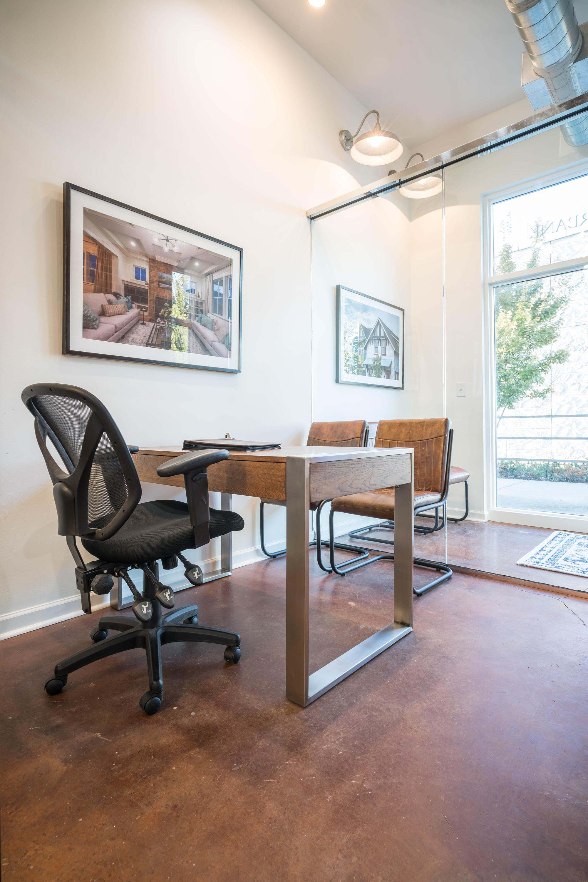 1. Office space with swivel chair and table