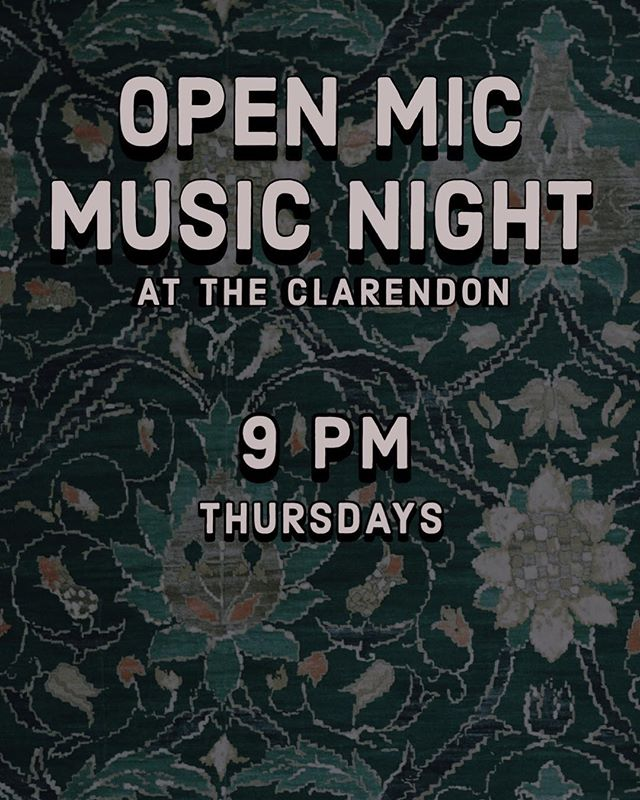 Open Mic Night is back✨ ———————————— Catch the live entertainment starting at 9pm tomorrow evening and continuing every Thursday. New acts always welcome 🎙  #seeyouattheclarendon 📷: @ericvanceportfolio