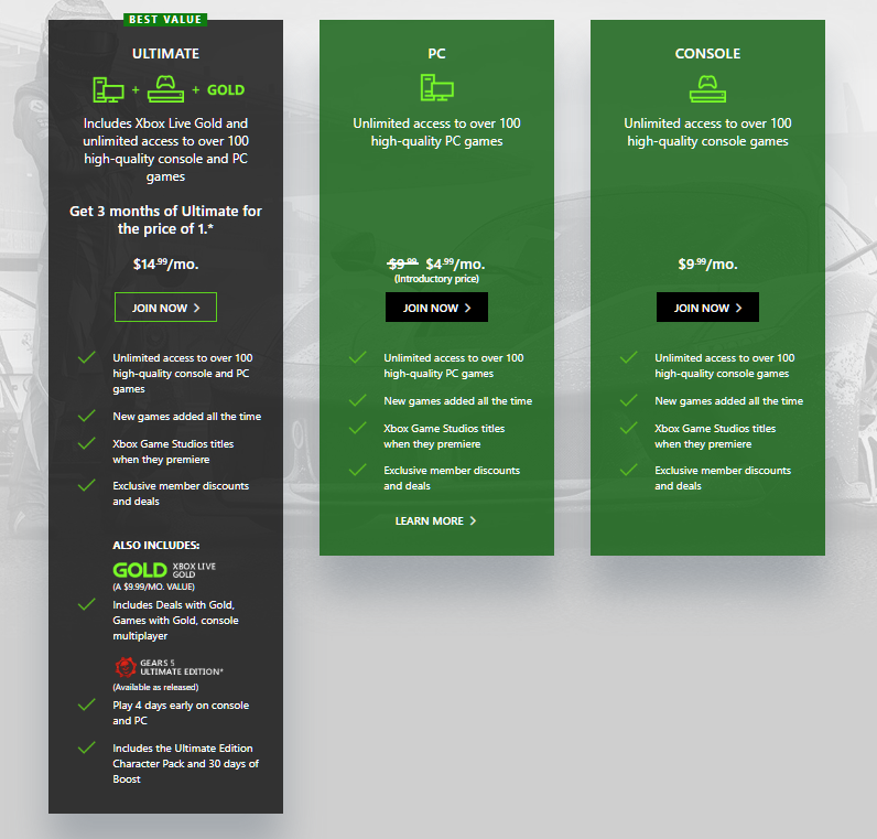 From the Xbox website, you can see a comparison of the different Game Pass options.