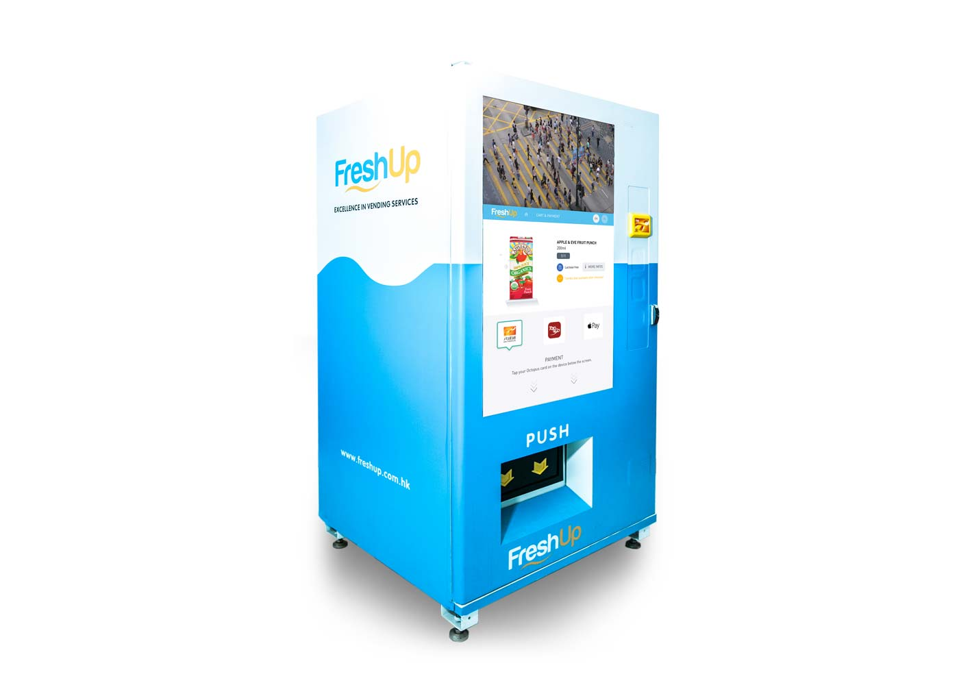 "FreshUp, vending machine, snacks, beverages, vending machine hong kong, smart vending machine, FreshUp Vending machine,  50"" Touch LCD"
