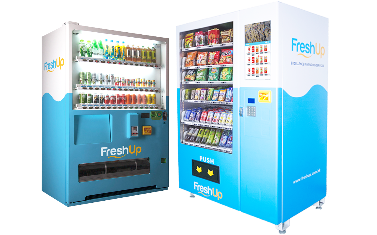 vending machine, FreshUp, beverage, snacks