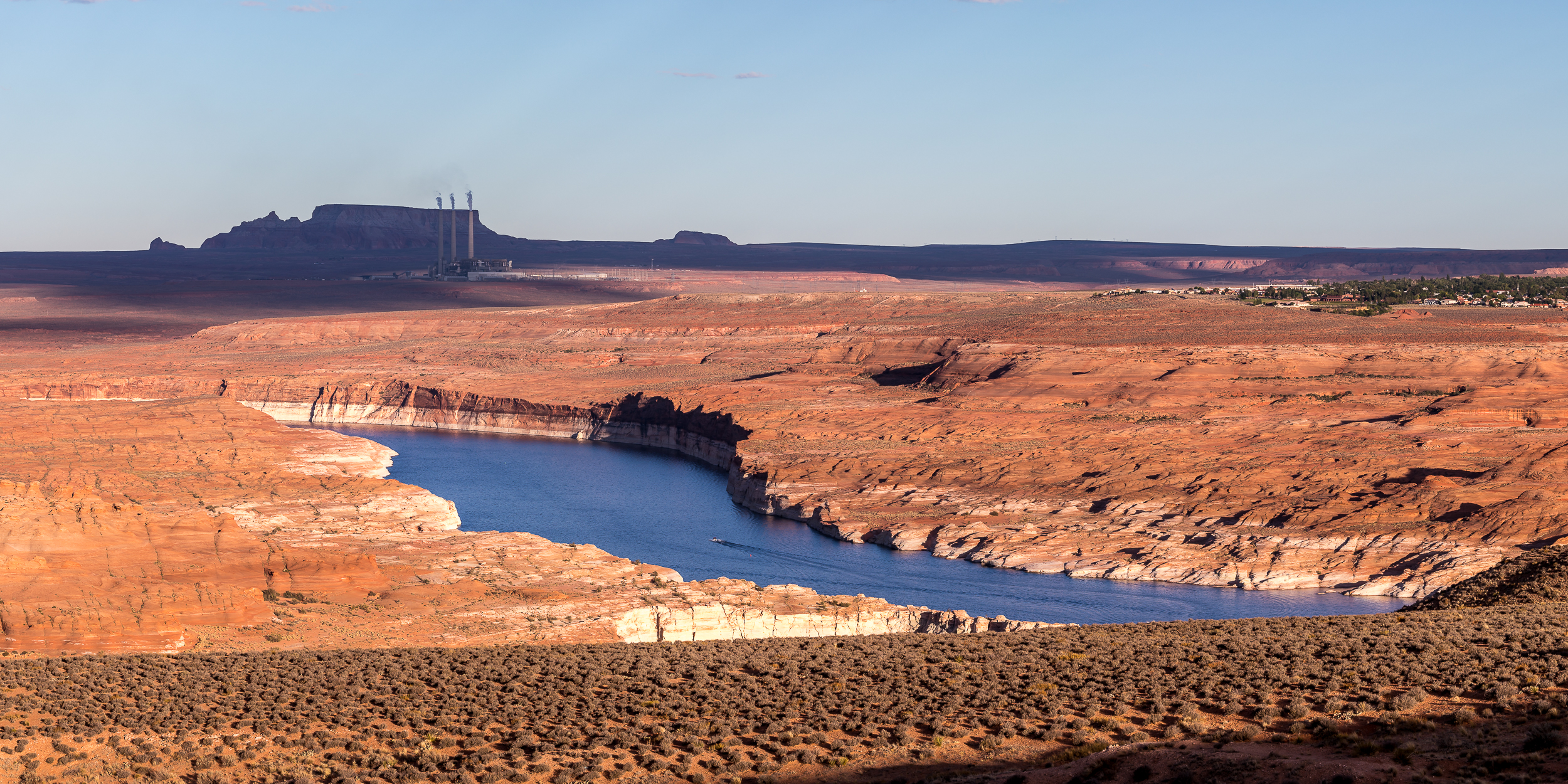 View of Page, Lake Powell, and Navajo Generating Station from Wahweap Overlook.