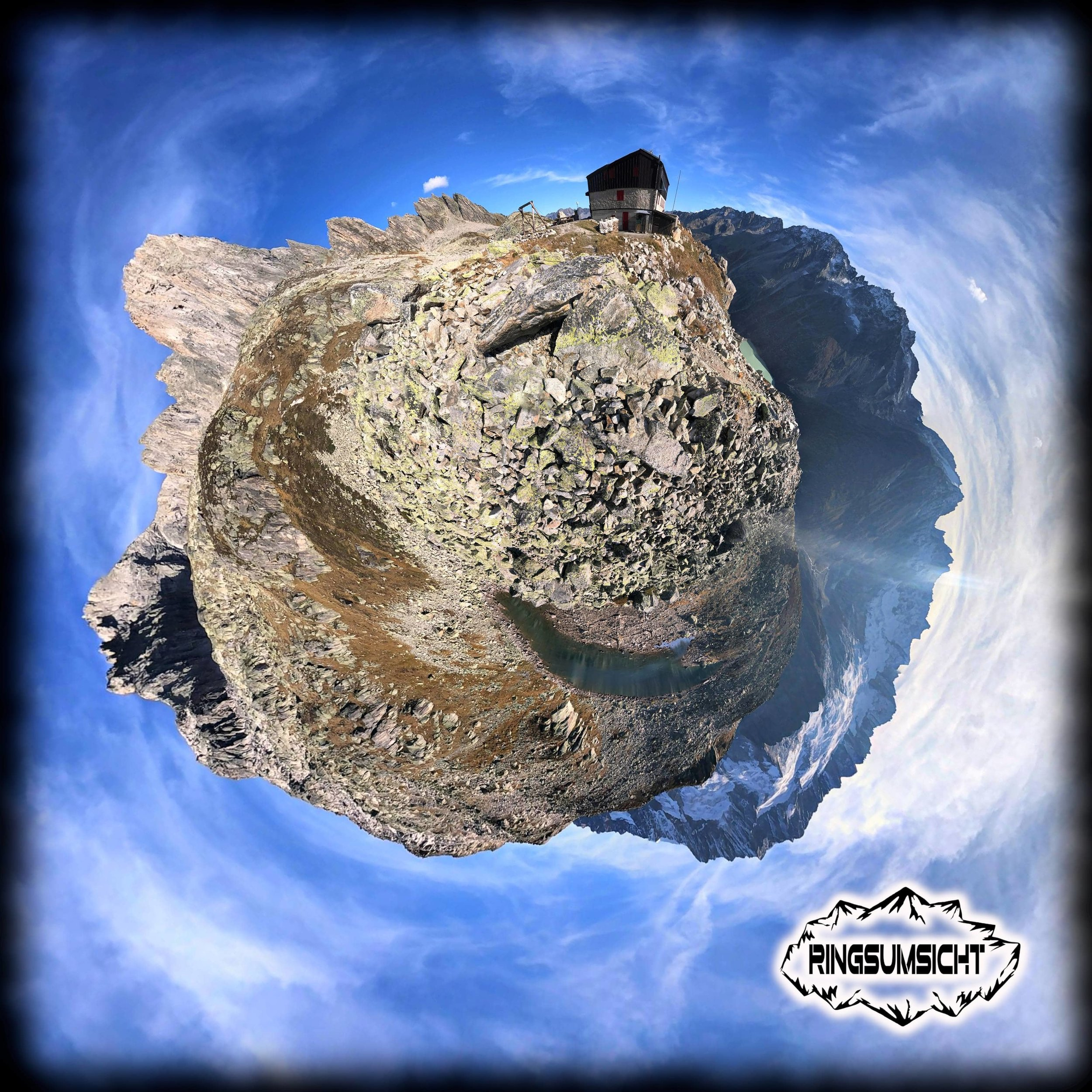 Bergseehütte tiny planet 360°Bild