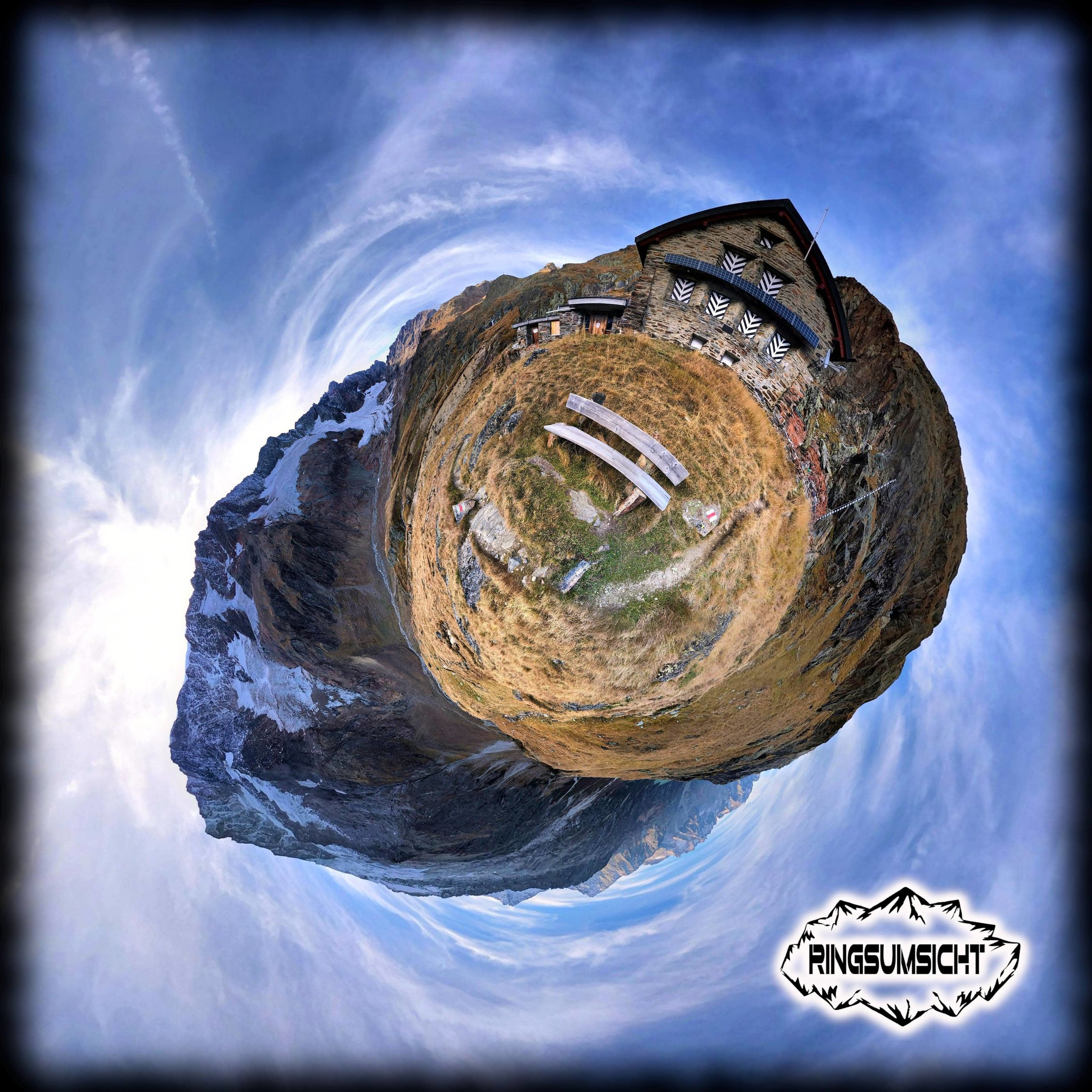 Chelenalp SAC-Hütte tiny planet 360°