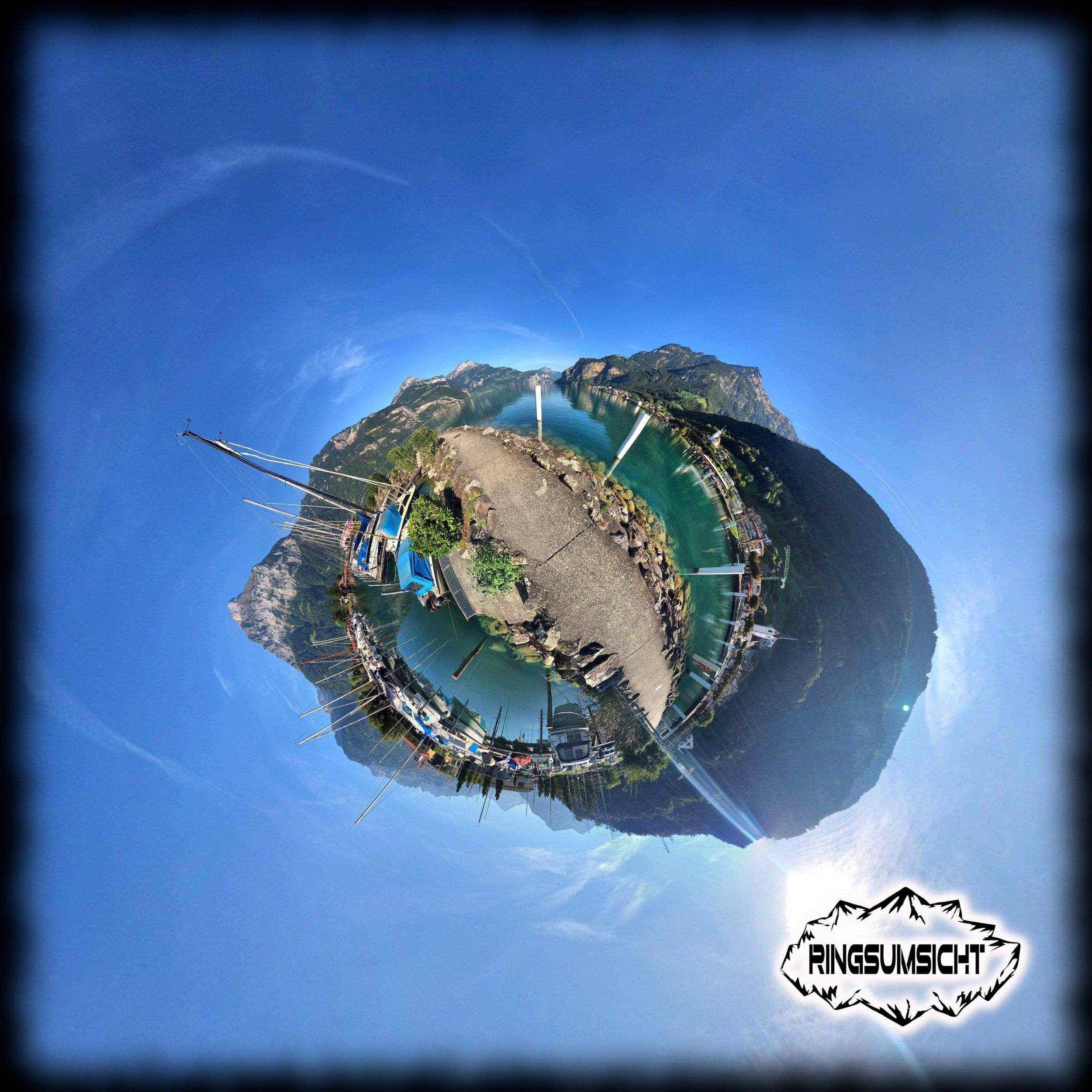Flüelen tiny planet 360° Bild