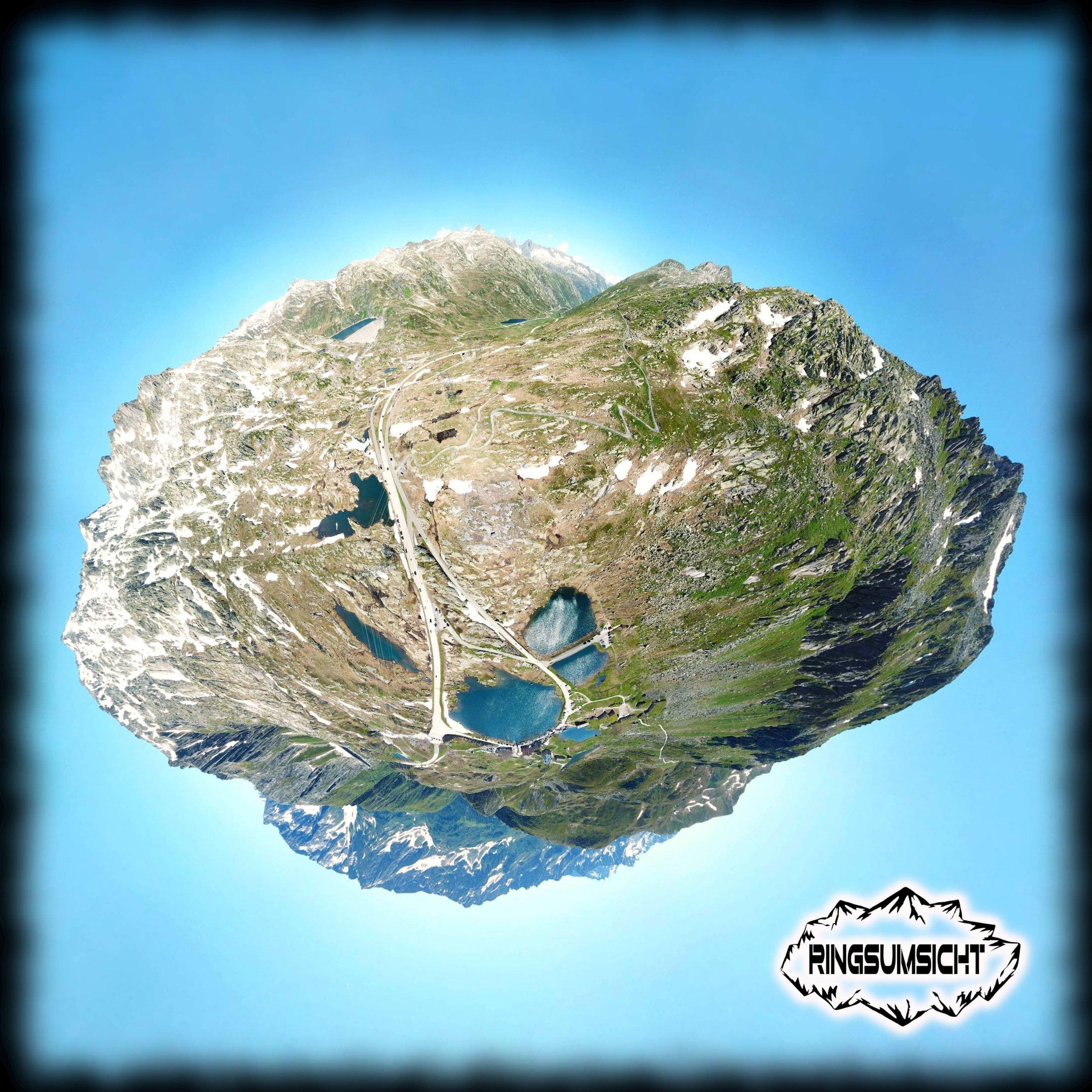 Gotthardpass tiny planet 360° Bild