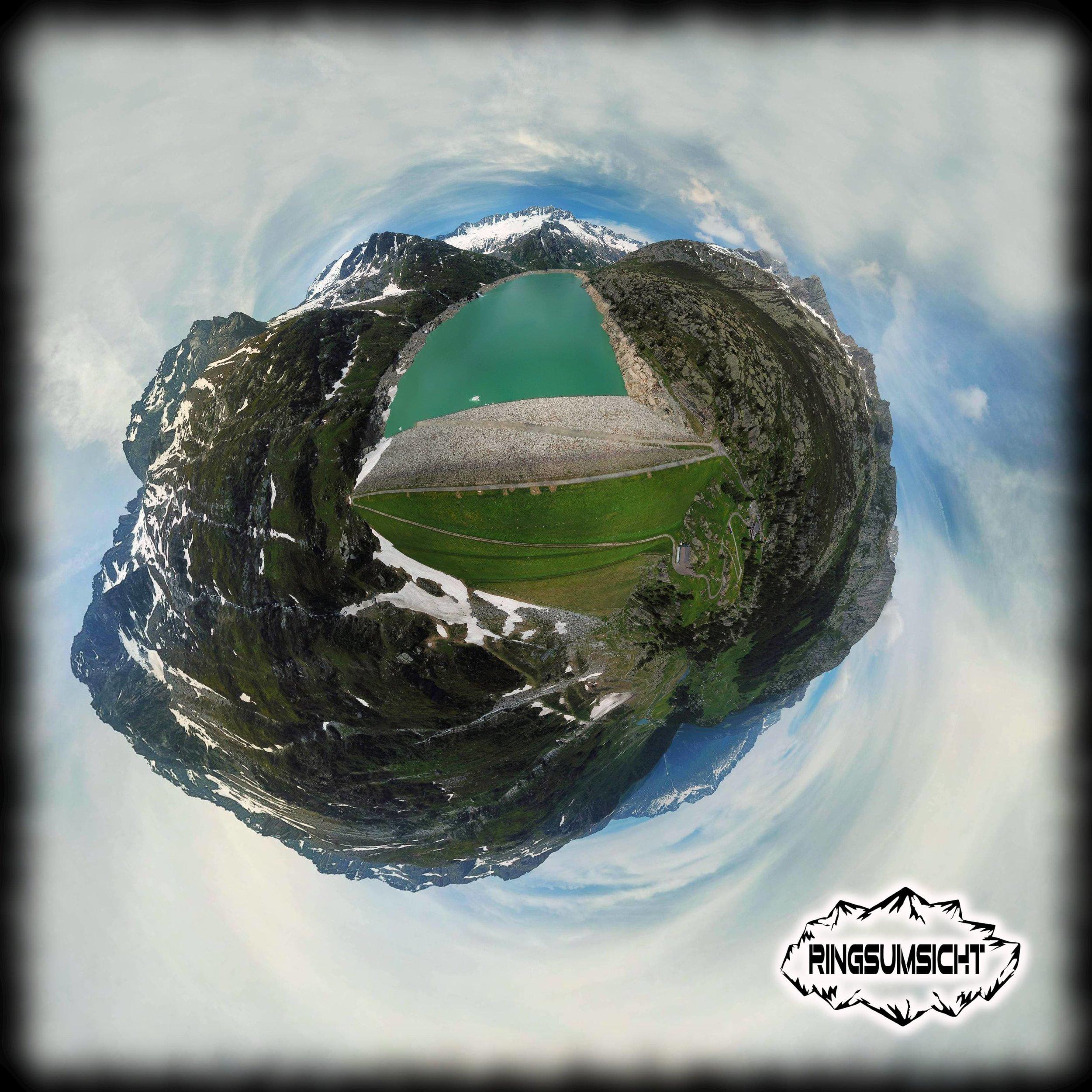 Göscheneralp Damm tiny planet 360° bild