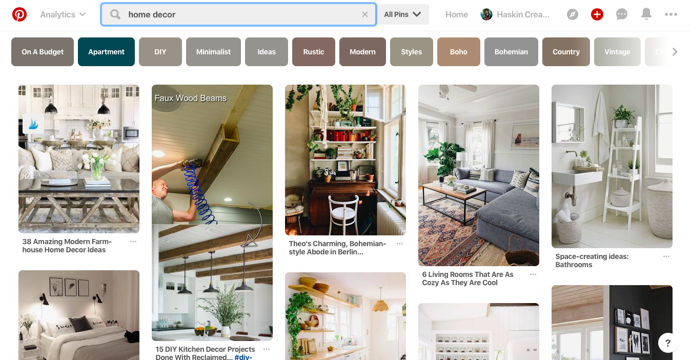 This is what Pinterest looks like. It's a visual search engine