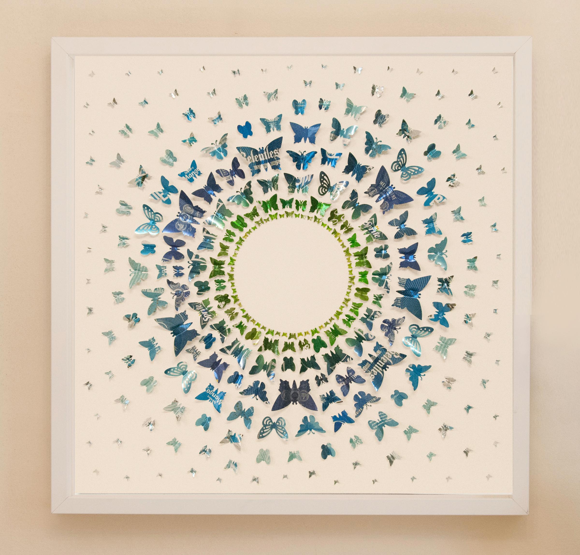60cm x 60cm, Green - Blue Circles