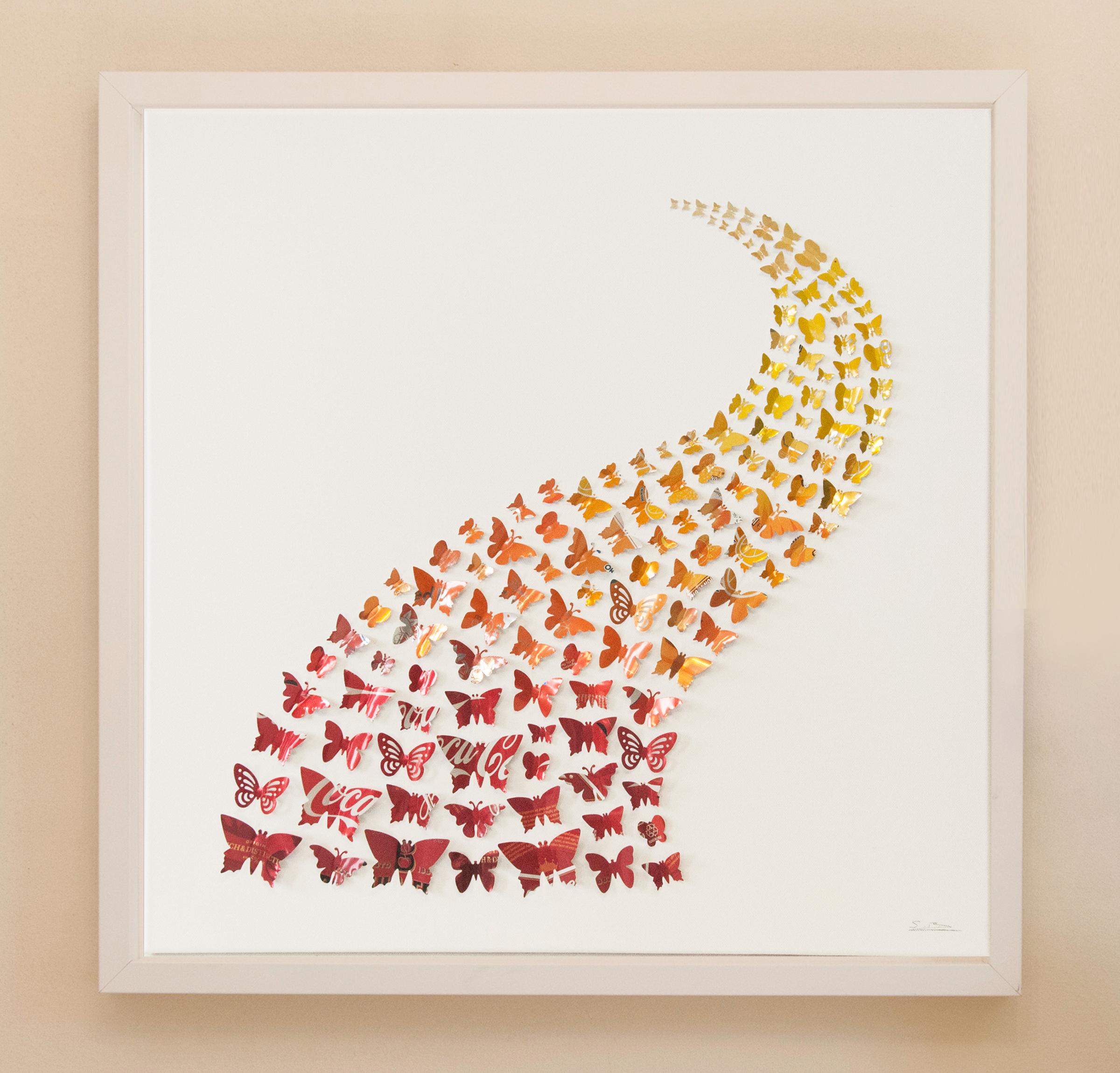 60cm x 60cm Red, Orange Swoosh