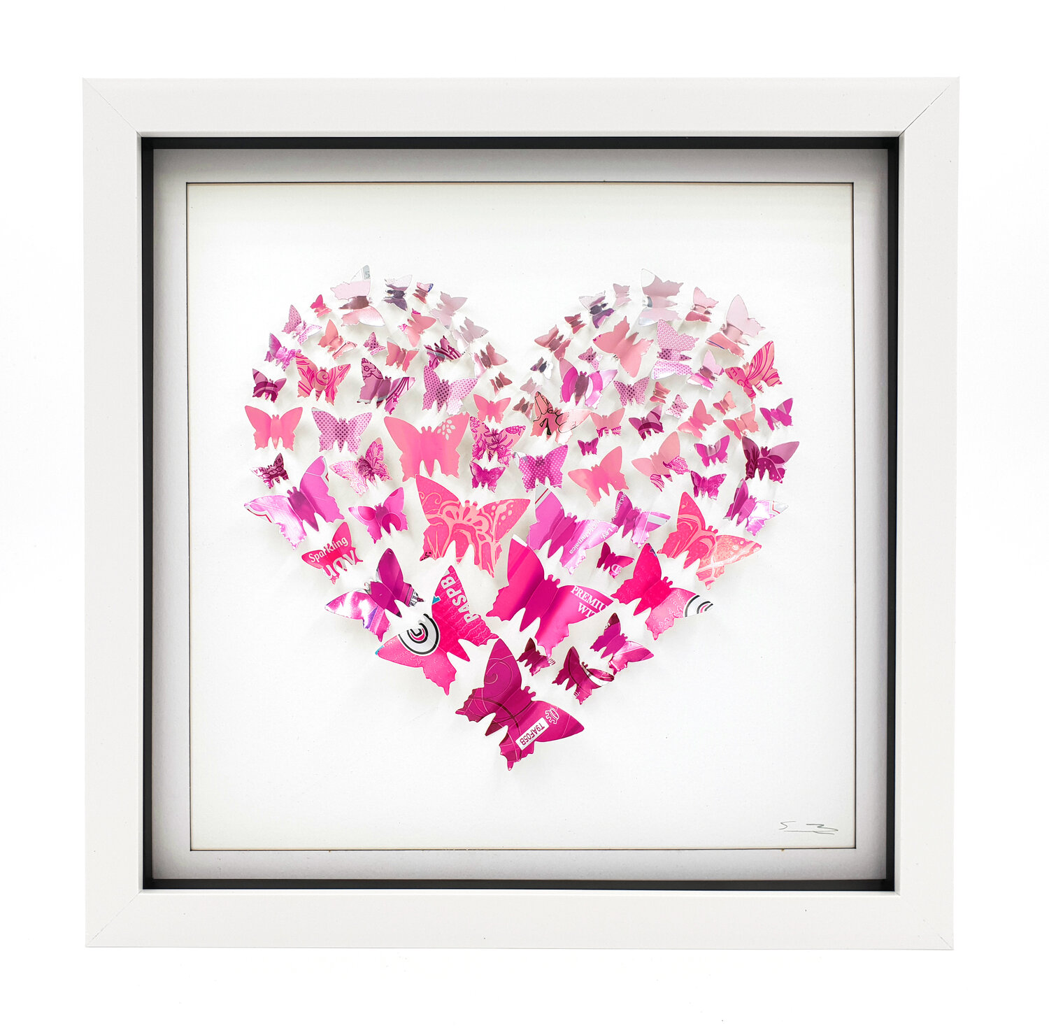Pink Butterfly Heart Medium Sarah Turner Eco Art Design