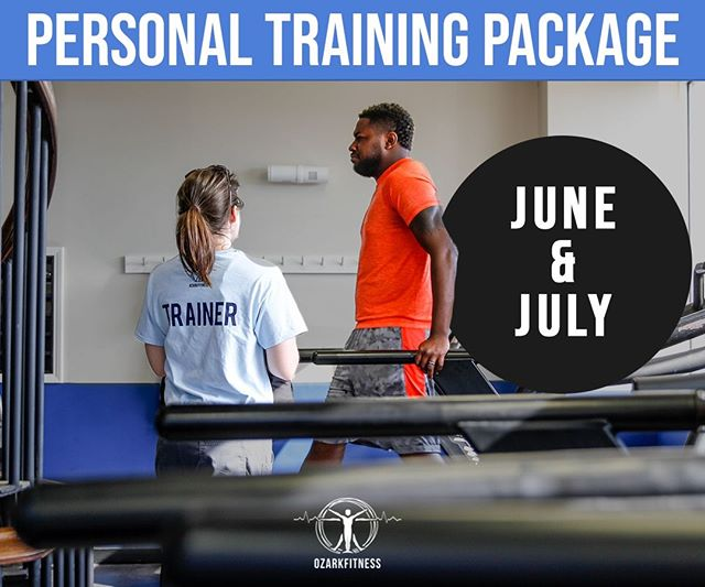 Make this summer all about you and your goals! This June and July only we have INCREDIBLE personal trainer specials going on. For 2 payments of $80 you will receive 8 personal training sessions, nutritional guidelines, and 4 one-on-one stretch sessions! ⠀ ⠀ If you have been thinking about hitting a certain weight loss goal this summer, or if you just want to make sure you are staying active, training with a fitness professional is a great way to hit any goals you may have. Sign up here    buff.ly/2F0uLjS ⠀ .⠀ .⠀ .⠀ .⠀ .⠀ .⠀ #fitness #personaltraining #ozarkfitness #getfit #fitfam #goals