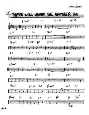 "Lead Sheet for the Jazz Standard, ""There Will Never Be Another You. Copyright 2019, Hal Leonard."
