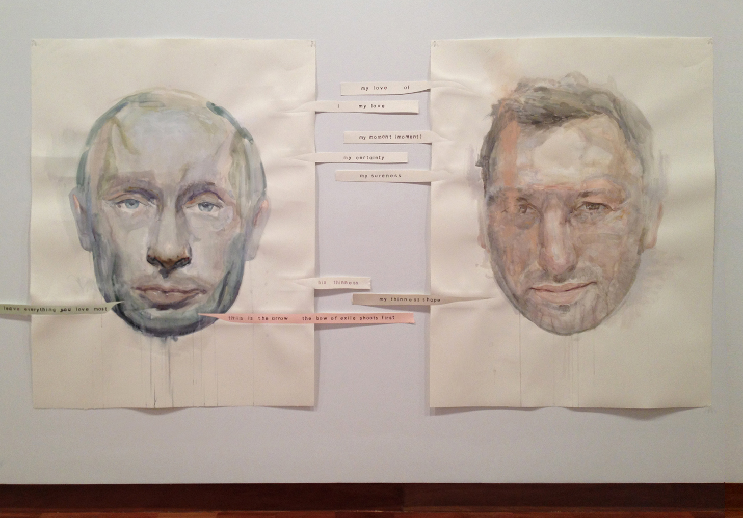 2nd Allegory of Opposition (Vladimir Putin and Ian Thorpe) , mixed media on paper, cut paper paper,160 x 300cm