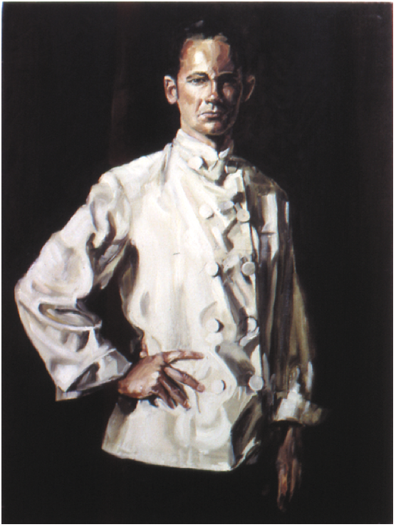 Self-portrait in Chef's Jacket,  oil on linen, 100. x 75cm