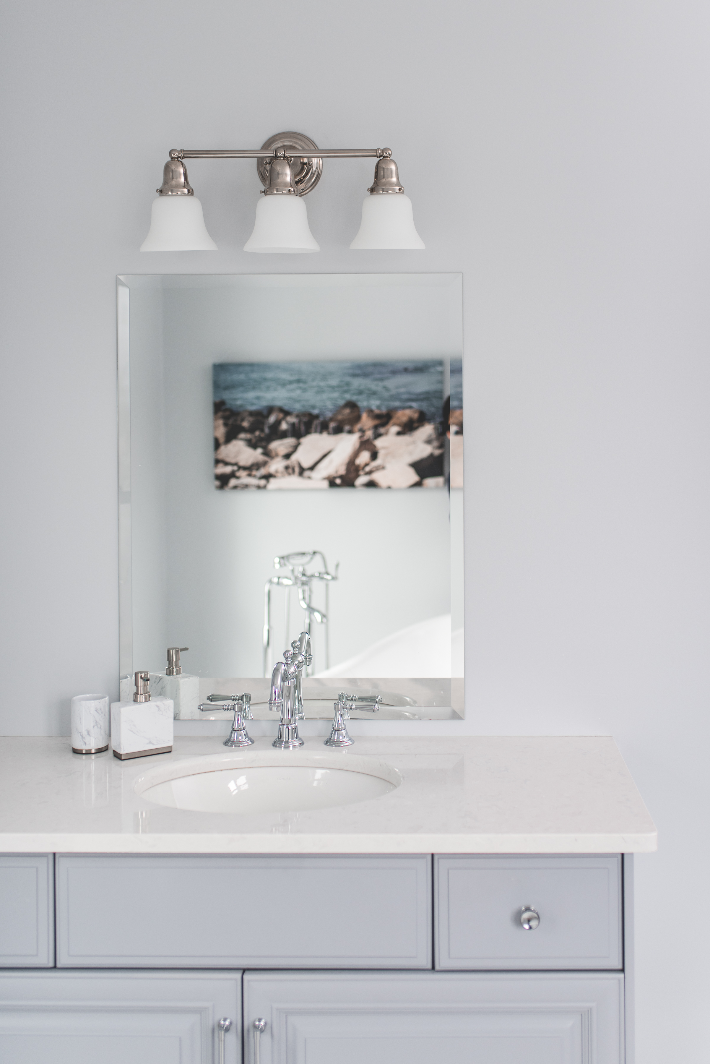 TASK  BATHROOM SCONCE, IN POLISHED NICKEL, ILLUMINATE THIS VANITY. (Wall sconces by Hundson Valley Lighting Group @hvlgroup.com)