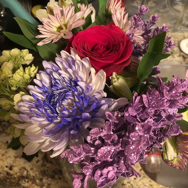 After what felt like a super long day (though no longer than normal), I came home to flowers and Reese's.  Best fiancé ever. . It would have been even better if there was a new cat involved, but at least Kramer came running down the stairs to greet me too.