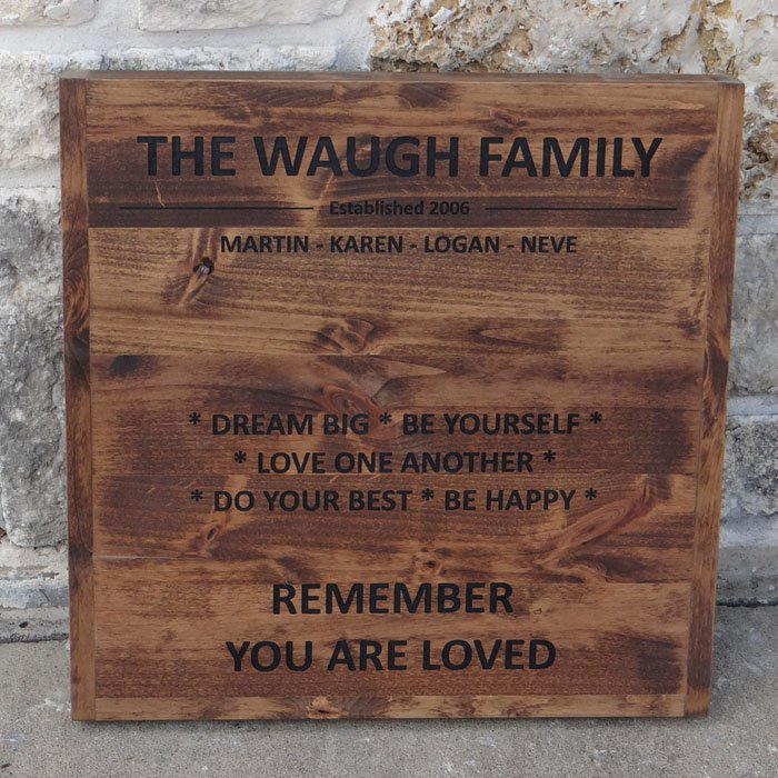personalized custom engraved wood plaque