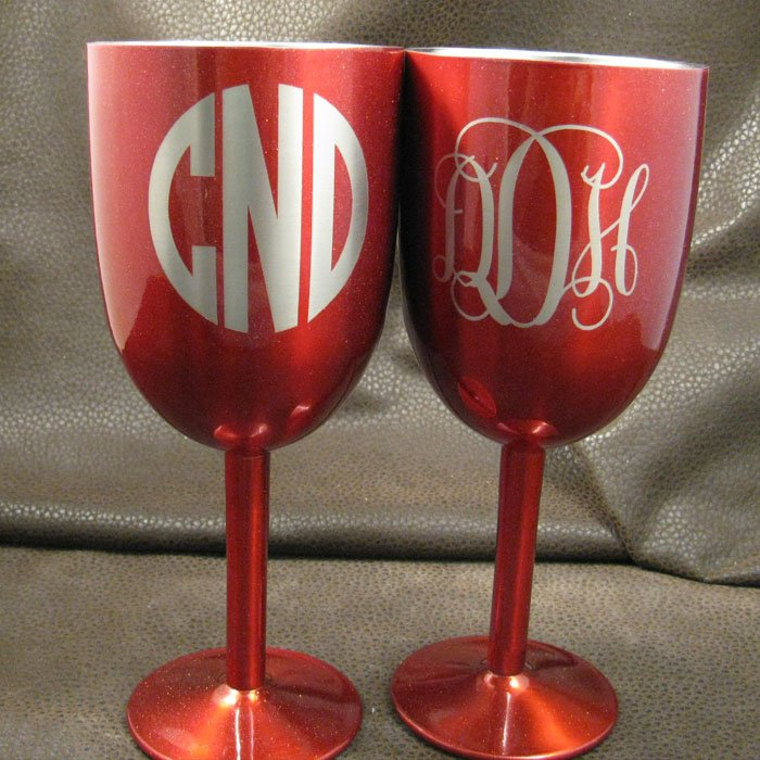 monogram stainless steel wine glass