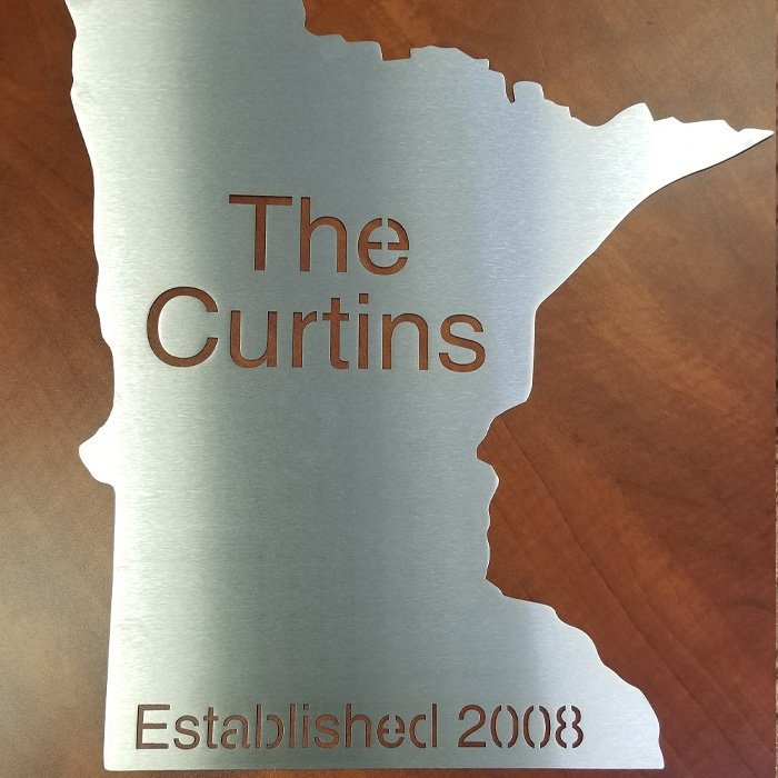 custom laser cut stainless steel sign