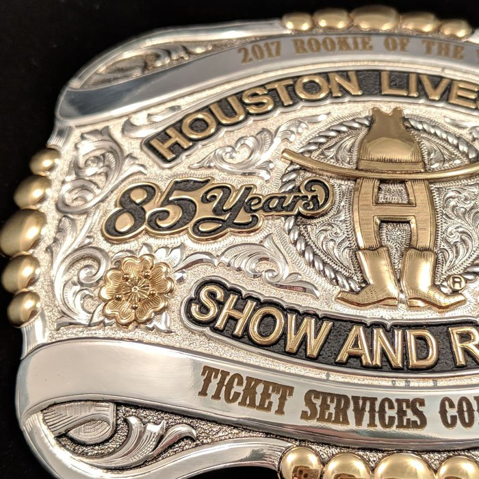 custom engraved belt buckle - houston rodeo