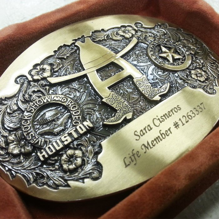 custom laser engraving - houston rodeo belt buckle