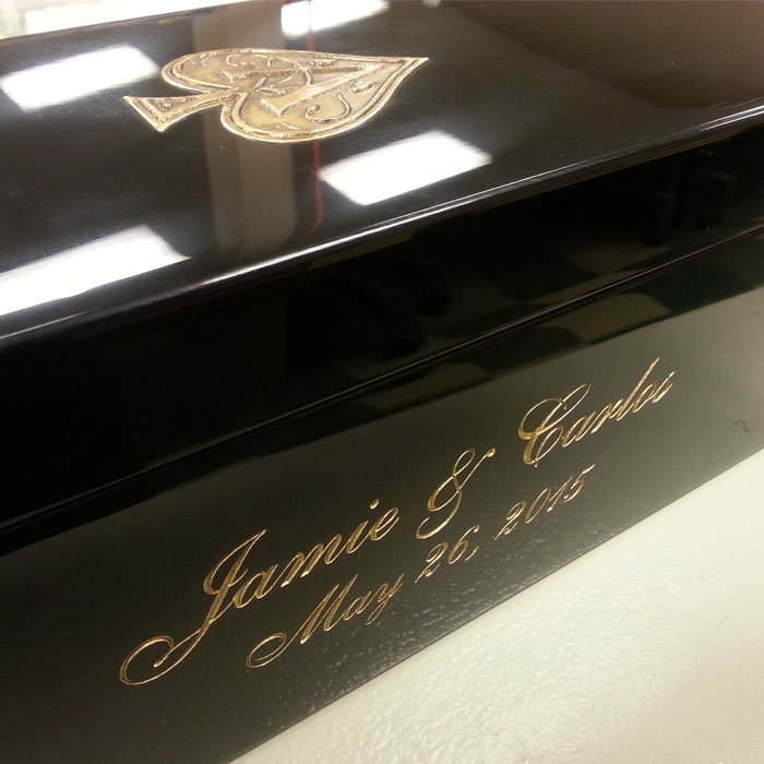 laser engraved custom personalized memento box.