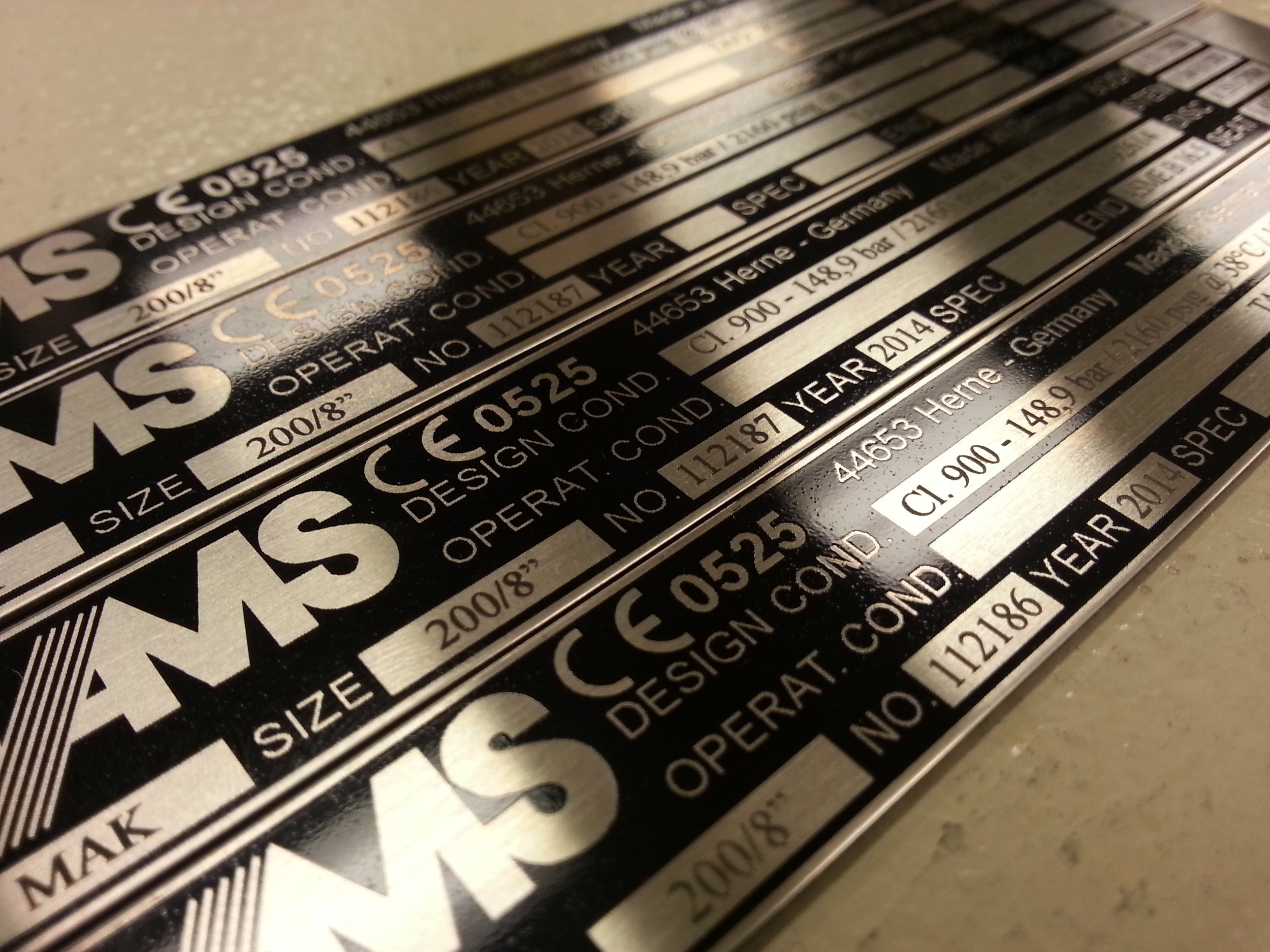 Industrial Marking - Custom Metal Labels - Engrave It Houston