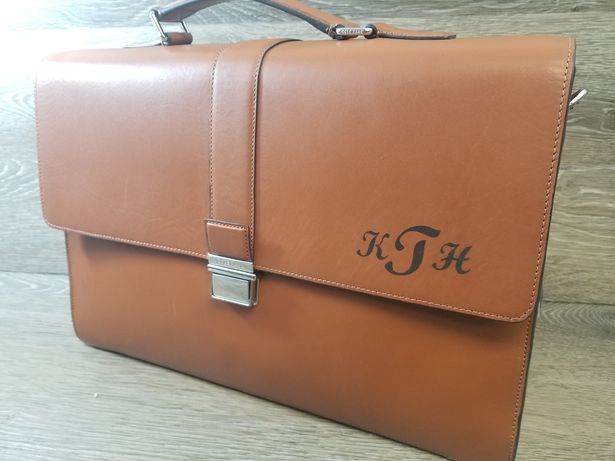 Personalized Leather Bags/Briefcases - Have your design or text laser engraved, marked, or etched on leather bags, purses, briefcases, luggage, and more.