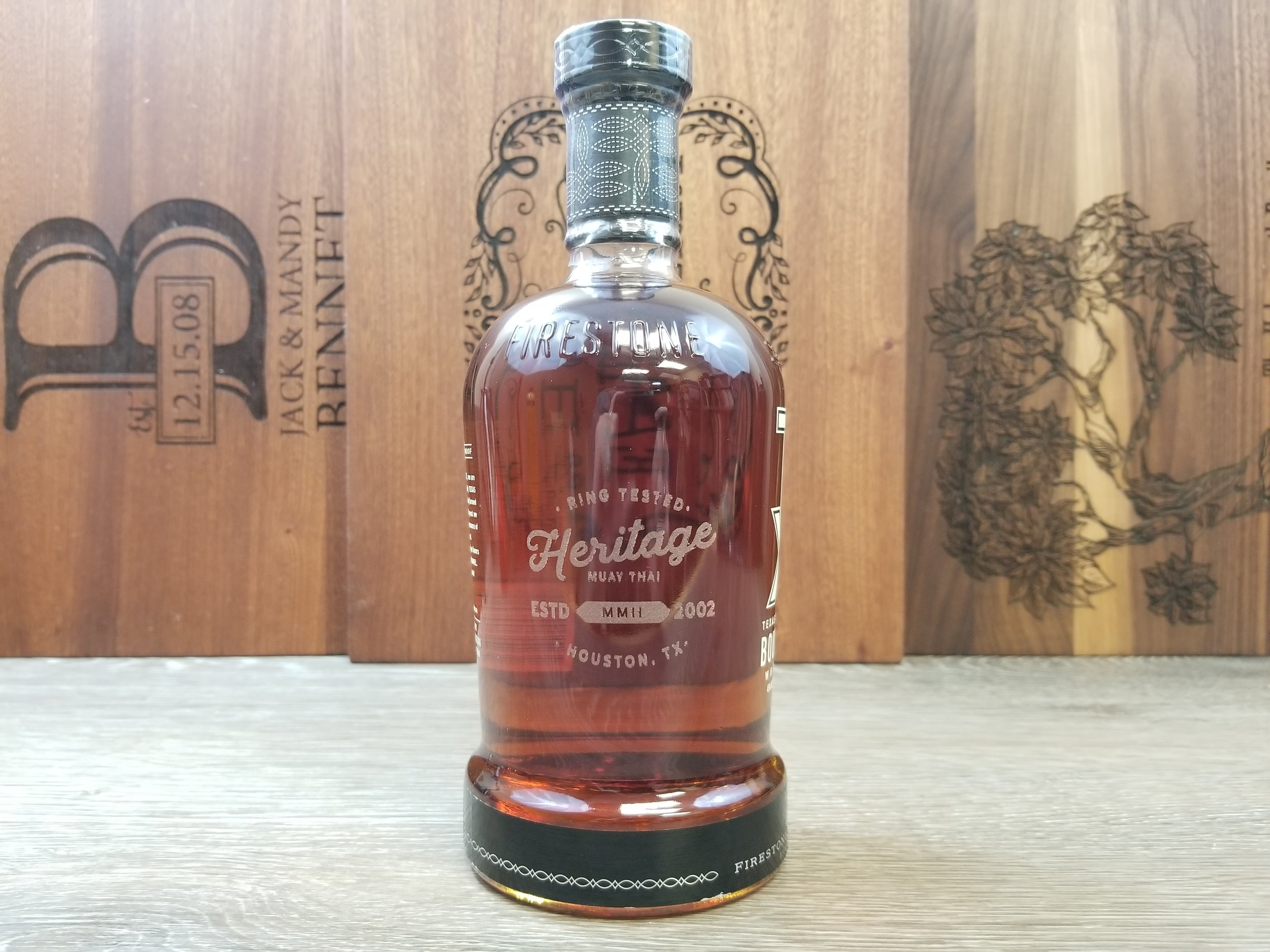 Custom Liquor Bottle Branding - Custom Liquor Bottle Engraving - Corporate Identity Projects - Branding Projects from Engrave It Houston