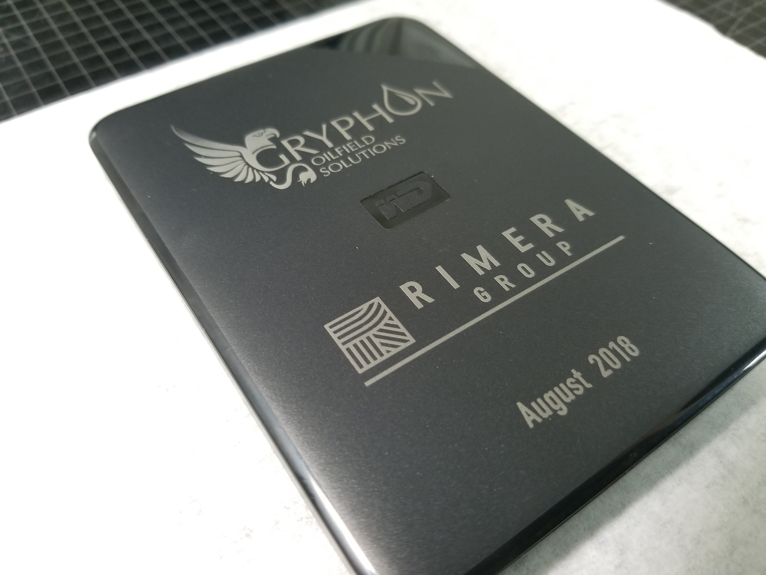 Custom Branded External Hard Drive - Logo Engraved on External Hard Drive - Corporate Identity Projects - Branding Projects from Engrave It Houston