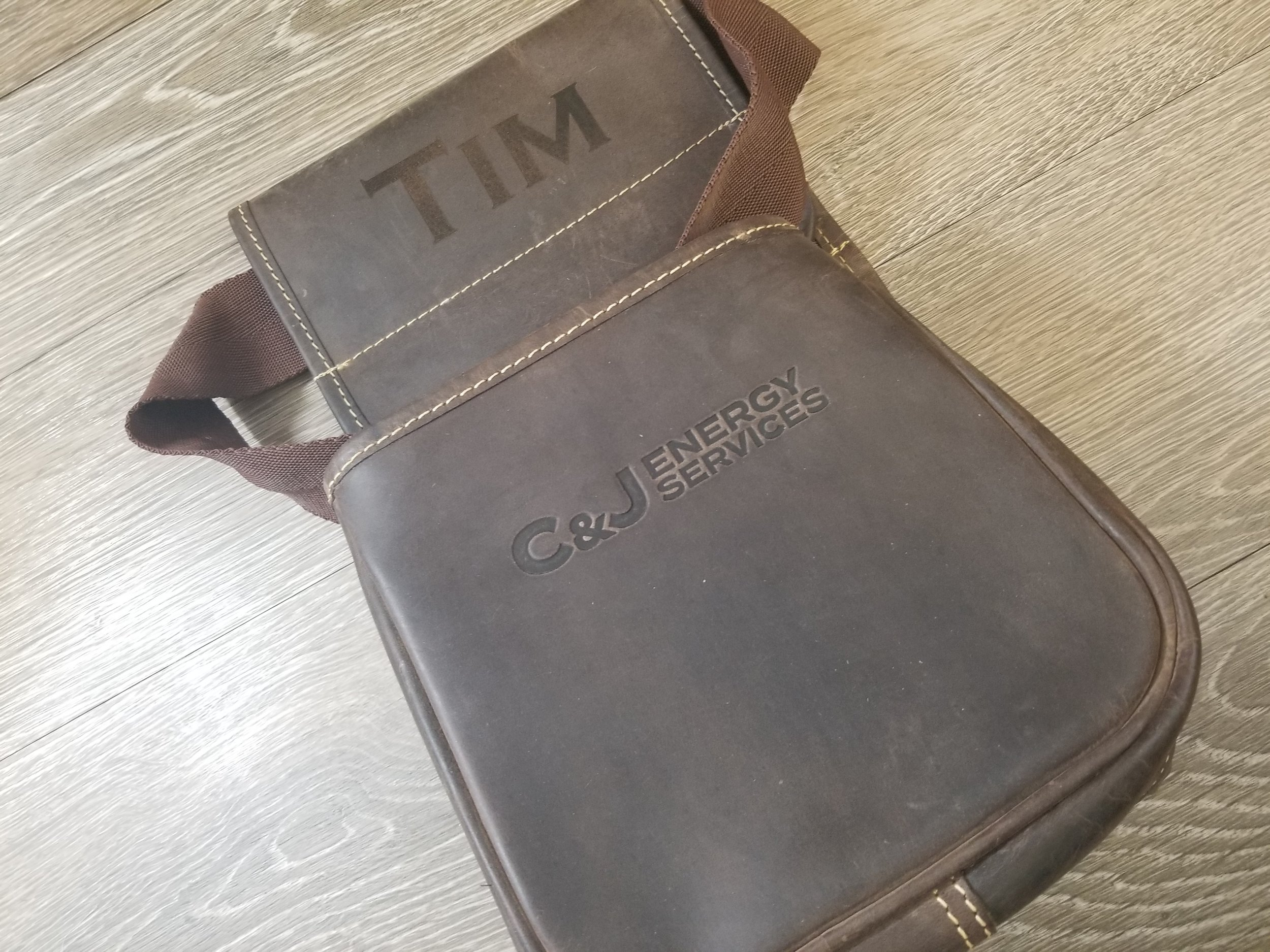Custom Branded Leather Satchel - Branded Bags - Branded Marketing Giveaways - Branded Employee Appreciation Gifts - Corporate Identity Projects - Branding Projects from Engrave It Houston
