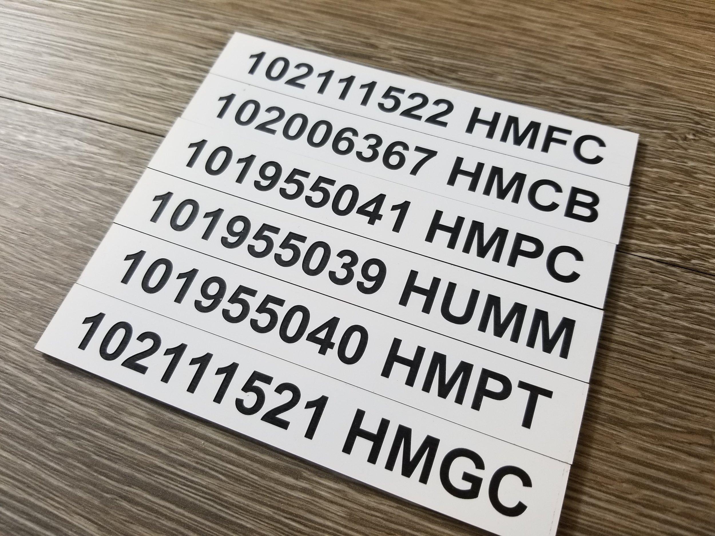 Custom Engraved Plastic Tags - Custom Phenolic Tags - Engraved Phenolic Tags - Engraved Plastic Tags - Industrial Engraving - Engrave It Houston